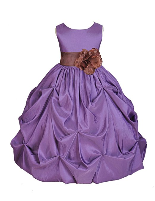 Ekidsbridal Purple Satin Taffeta Pick-Up Bubble Flower Girl Dresses Junior Toddler Formal Special Occasions Wedding Pageant Dresses Ball Gown Dance Recital Reception Birthday Girl Party 301S