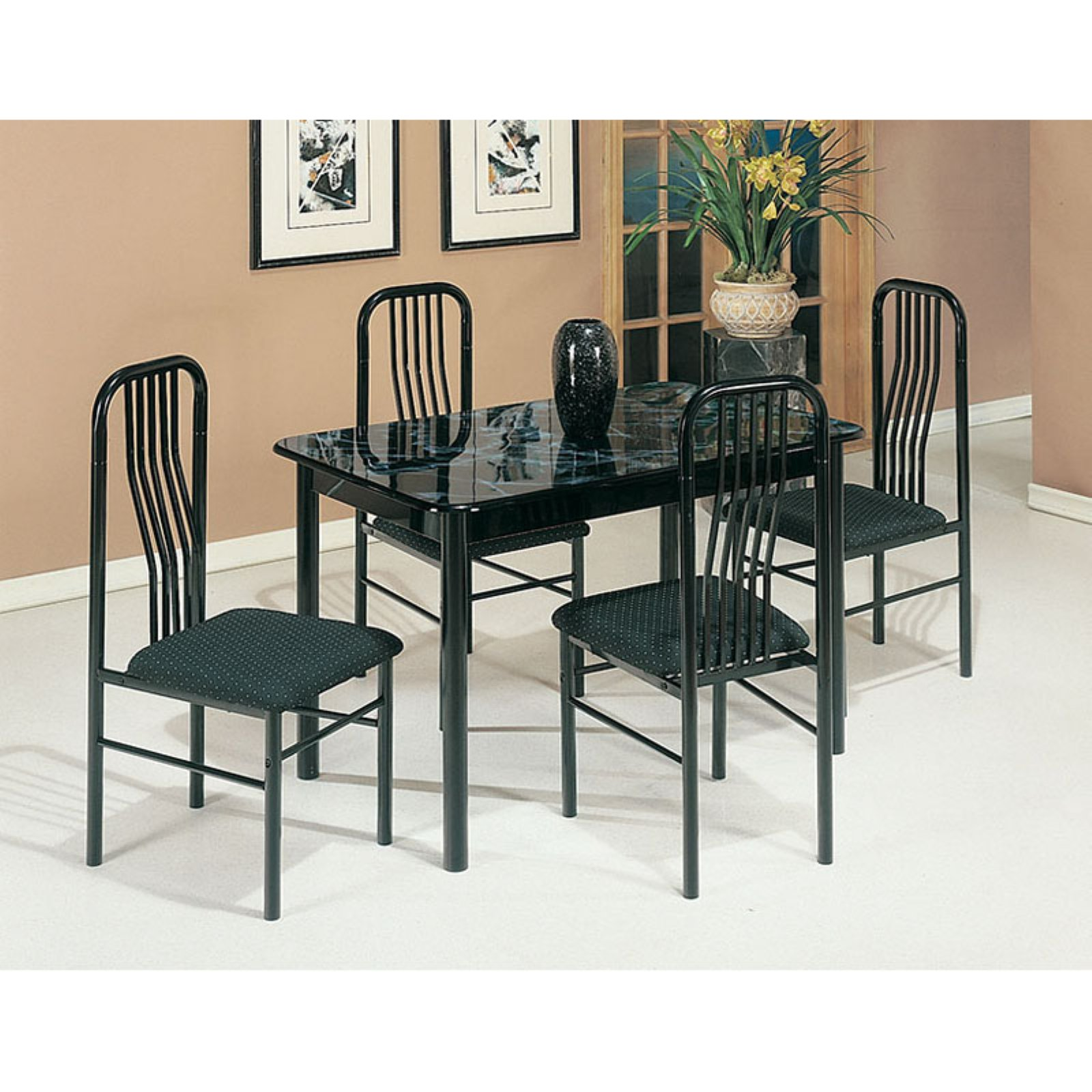 Acme Furniture Hudson 5 Piece Faux Marble Dining Table Se...