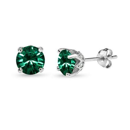 Sterling Silver Green Crown Stud Earrings Made w/ Swarovski Crystals
