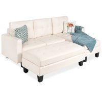 Best Choice Products 3-Seat L-Shape Tufted Faux Leather Sectional Sofa Couch Set w/ Chaise Lounge, Ottoman Bench - White