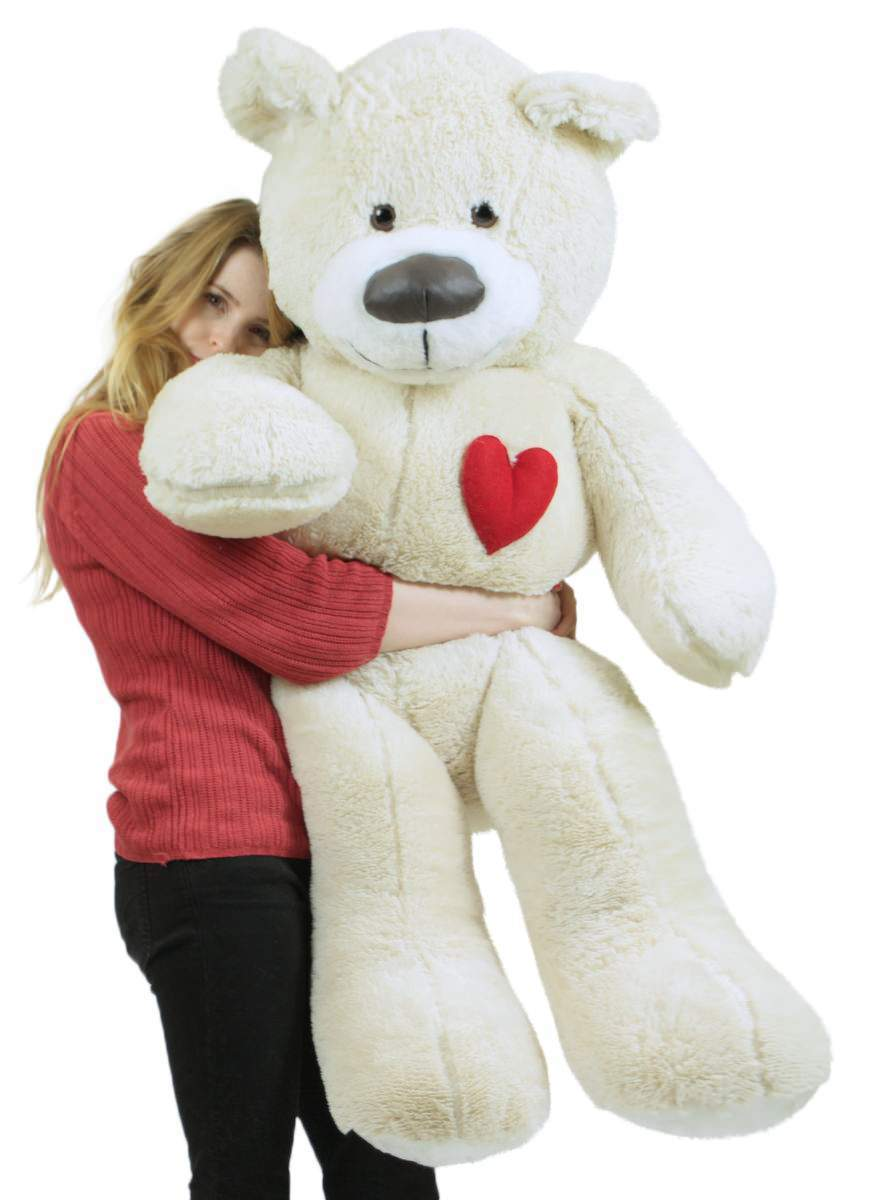 Valentine's Day Giant Teddy Bear With Heart on Chest to Express Love, 5 Foot Soft White Big Plush Made in USA by Big Plush