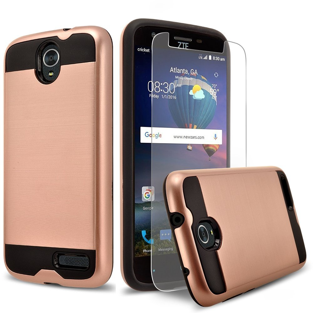 ZTE Warp 7 Case, ZTE Grand X3 Case, 2-Piece Style Hybrid Shockproof Hard Case Cover with [Premium Screen Protector] Hybird Shockproof And Circlemalls Stylus Pen (Rose Gold)