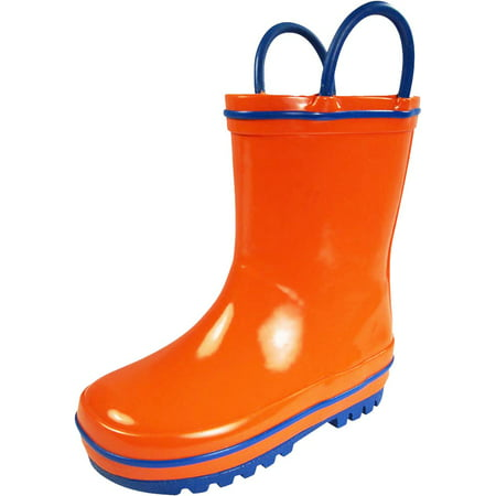 Norty Waterproof Rubber Rain Boots for Kids - Childrens Rainboots - Easy Pull-On Handles - For Boys and Girls, Toddlers and Big Kids - 100% Rubber/No PVC - Kids can now proudly put on their own