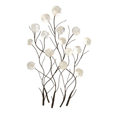 24 Inch Outdoor Wall - Decmode Modern 36 X 24 Inch White Seashells and Metal Floral Wall Decor