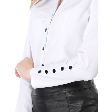 Unique Bargains Women Point Collar Button Closure Long Sleeves Casual Shirt White M - image 4 of 7