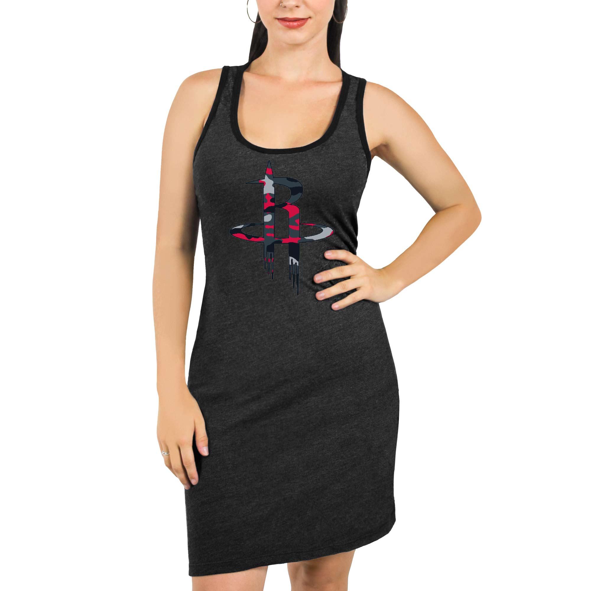 Houston Rockets Majestic Threads Women's Camo Pop Tri-Blend Racerback Sleeveless Dress - Black