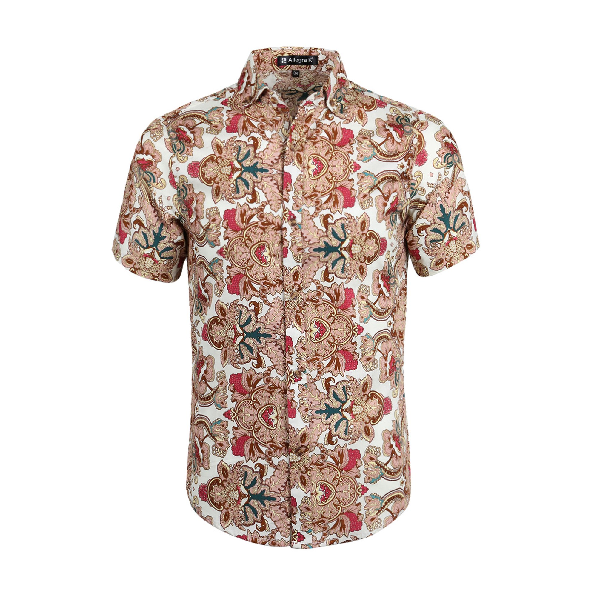 08fb3e65 Men Floral Print Short Sleeve Button Down Beach Hawaiian Shirt Light Taupe  M | Walmart Canada