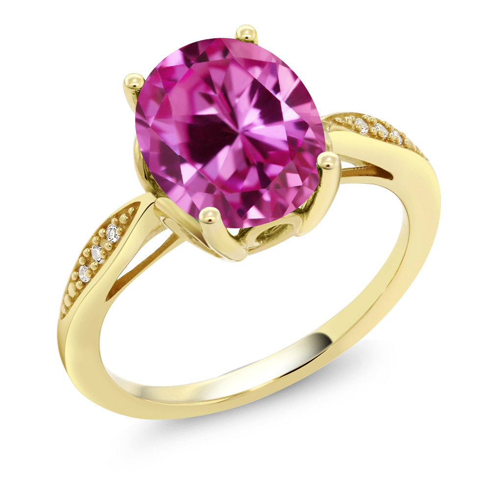 14K Yellow Gold 3.29 Ct Oval Pink Created Sapphire and Diamond Ring by