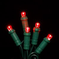 (Price/each)LEDgen S-70MMRE-4G - 70 Count Standard Grade 5MM Conical Red LED Light Set with in-line rectifer on Green Wire