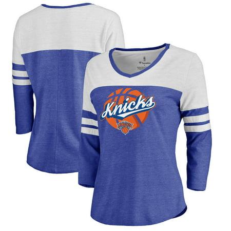 New York Knicks Fanatics Branded Women's NY Ball Hometown Collection Three-Quarter Sleeve Tri-Blend T-Shirt - Royal](Ny Nicks)