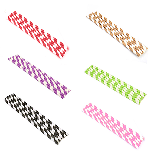 Micelec 25Pcs Wedding Drinking Party Event Disposable Food Grade Striped Paper Straws
