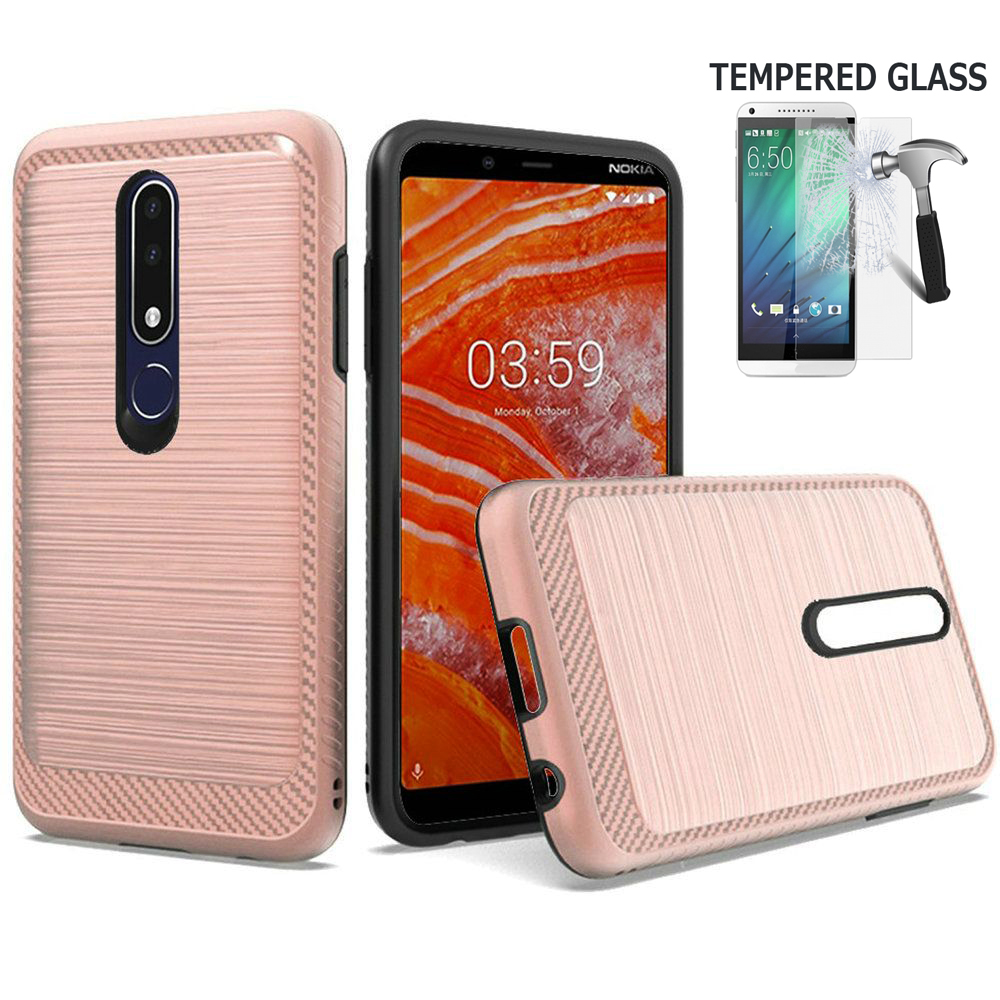 "Phone Case for Nokia 3.1 Plus (6"") / Cricket 3.1-Plus Case Brush Shockproof Dual-Layered Cover + Screen Protector (Brush Rose Gold + Tempered Glass)"