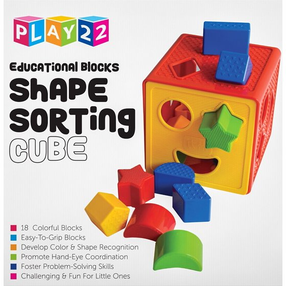 Baby Blocks Shape Sorter Toy Childrens Blocks Includes 18 Shapes