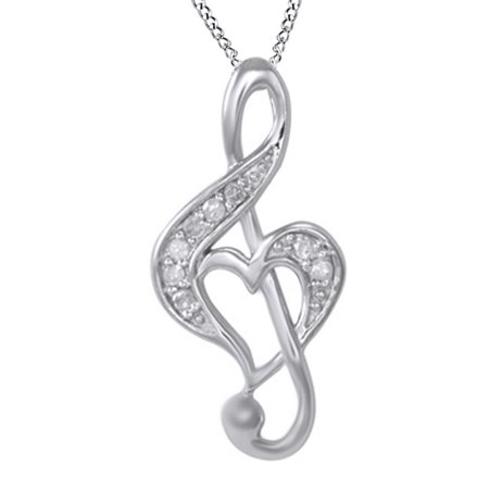 White Natural Diamond Music Note with Heart Pendant Necklace in 14k White Gold Over Sterling Silver (0.1 Ct)