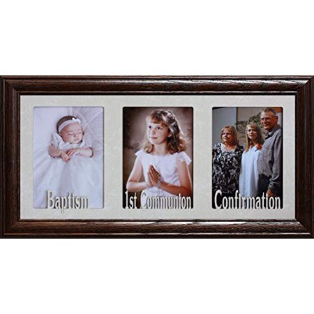 7X15 ~ Baptism, 1st Communion & Confirmation ~ Holds Three Portrait 4X6 Or 5X7 Photos