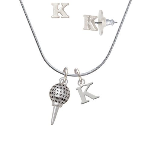 Golf Ball on Tee K Initial Charm Necklace and Stud Earrings Jewelry Set by Delight and Co.
