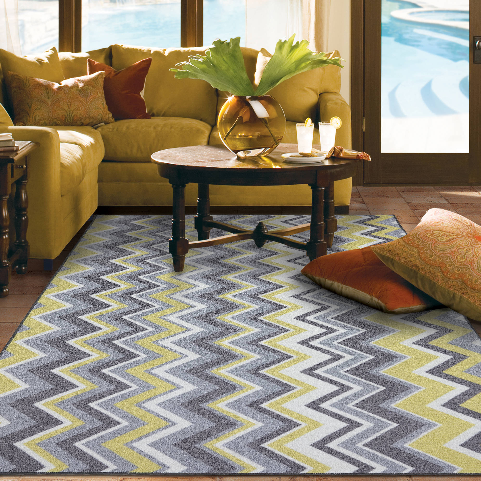 Mohawk Home Ella Zig Zag Indoor/Outdoor Nylon Rug, Yellow   Walmart.com