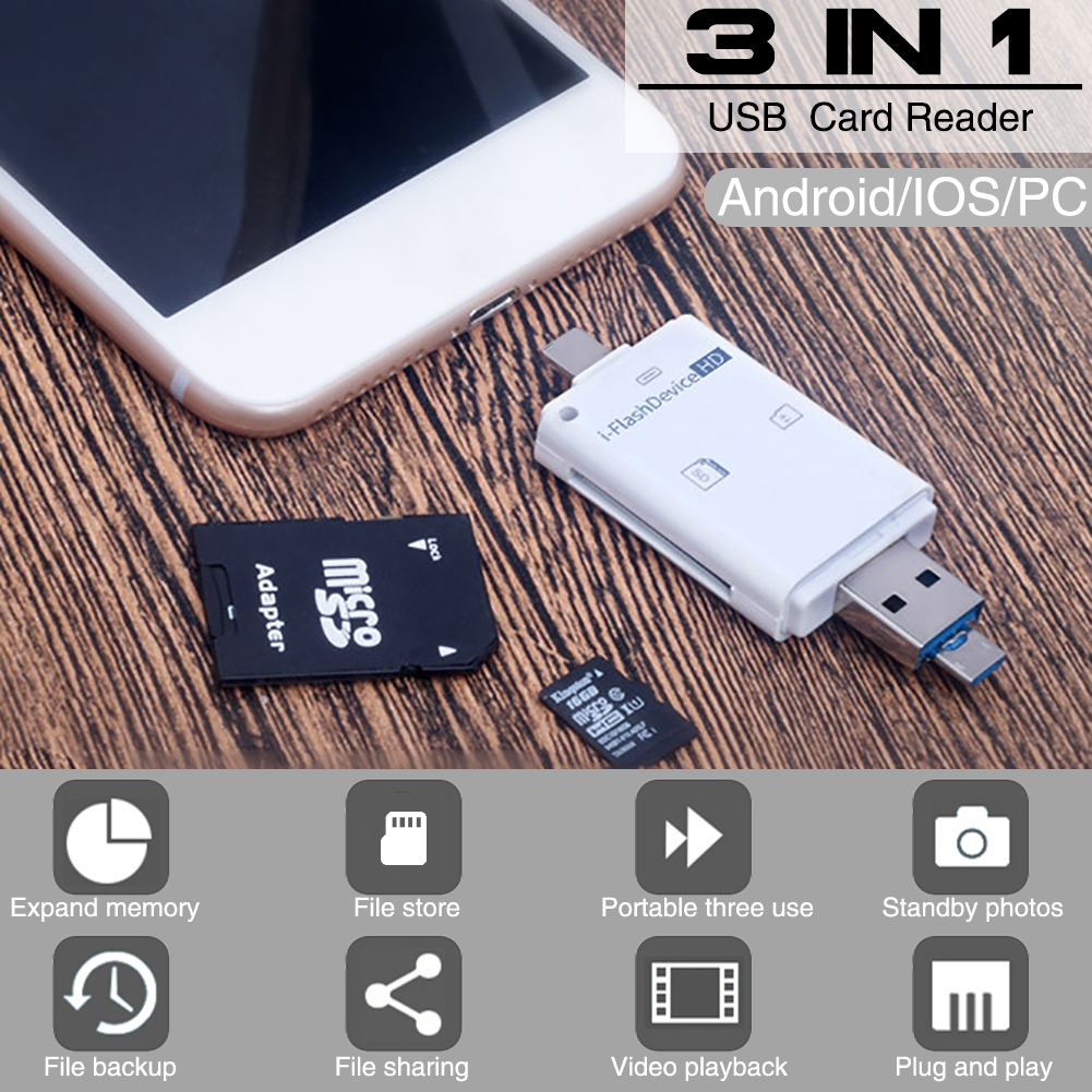 SD Card Reader for iPhone iPad USB OTG Mini Smart Memory Card Reader Micro SD TF Adapter Lightning for iPhone IOS Android