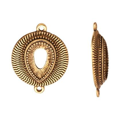 link findinGram/Connector, Antique-Gold Finished Wave Radian Oval With Teardrop Cabochon Setting 24x19mm With 8x12mm - Oval Cabochon Setting