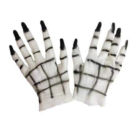 Not So Scary Halloween Party Tips (Woman Rubber Ghost Gloves Halloween Costumes Masquerade Party Scary Toy Supplies Decor)