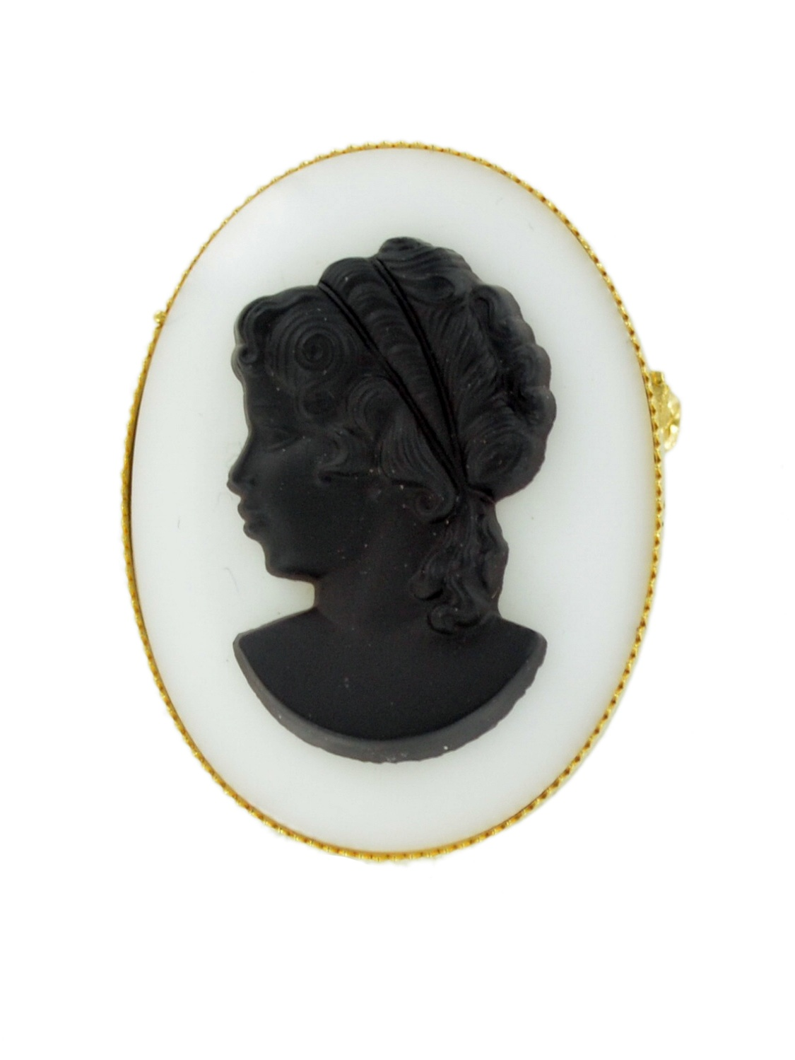 Gold Tone Black White Glass Oval Cameo Pin Brooch or Pendant by