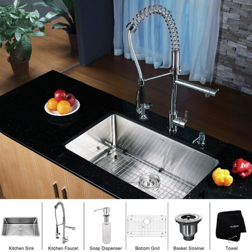 Kraus 30'' L x 18'' W Undermount Kitchen Sink with Faucet and Soap Dispenser
