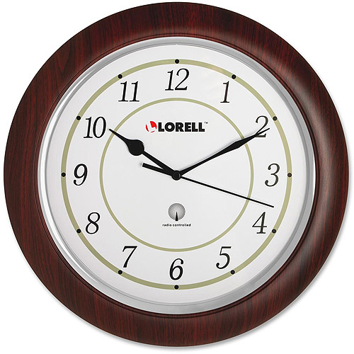 "Lorell 13-1/2"" Radio Controlled Wood Wall Clock"