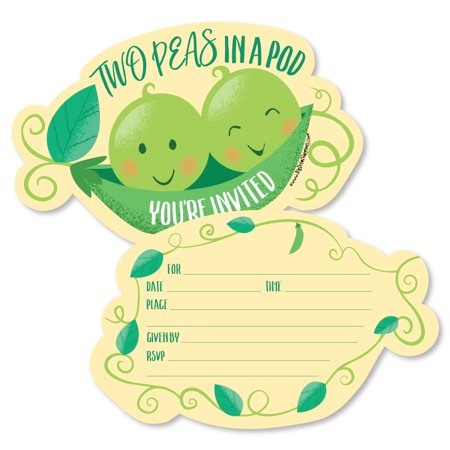 Double the Fun - Twins Two Peas in a Pod - Shaped Fill-In Invitations -Baby Shower or First Birthday Party Invites-12 Ct (Party Stores In Ct)