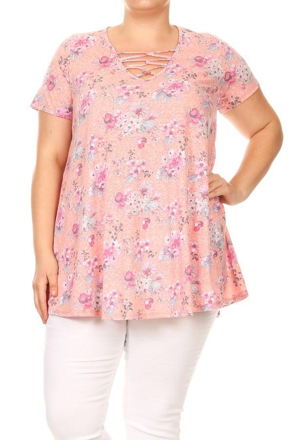 Plus Size Women's Short Sleeves Print Top