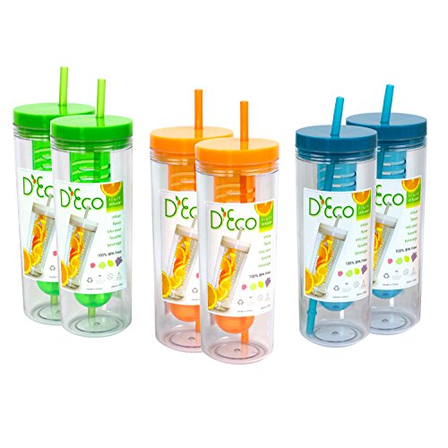 Fruit Infuser Water Bottle with Straw by D'Eco - 20 oz (Multi-Pack of 6)