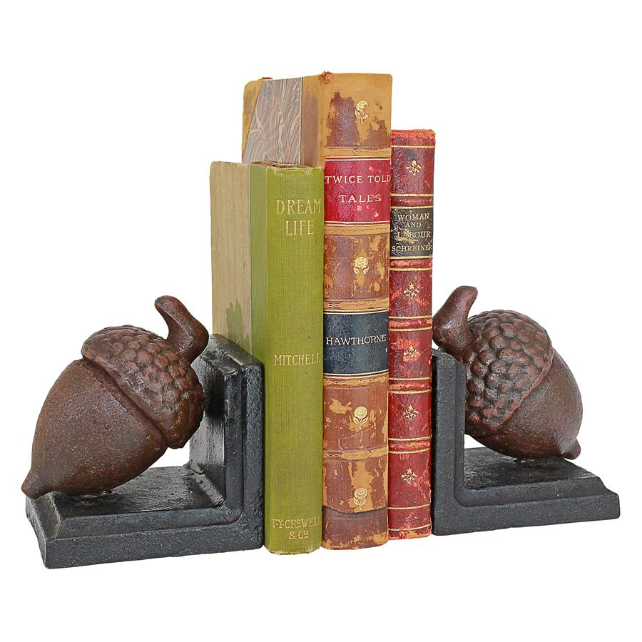 Grande Acorn Cast Iron Sculptural Bookend Pair by Design Toscano