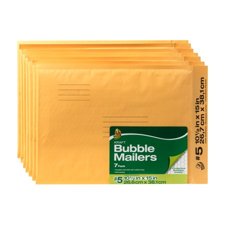 Duck Brand 10.5 In. x 15 In. (Size 5) Kraft Bubble Mailer, 7-Pack
