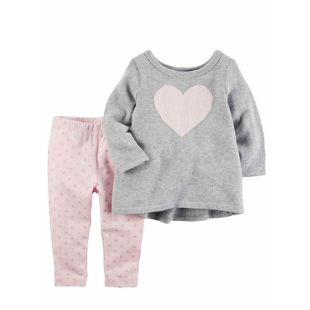 Carters Infant Girls Baby Outfit Gray Heart Sweater Shirt & Pink Dot Pants