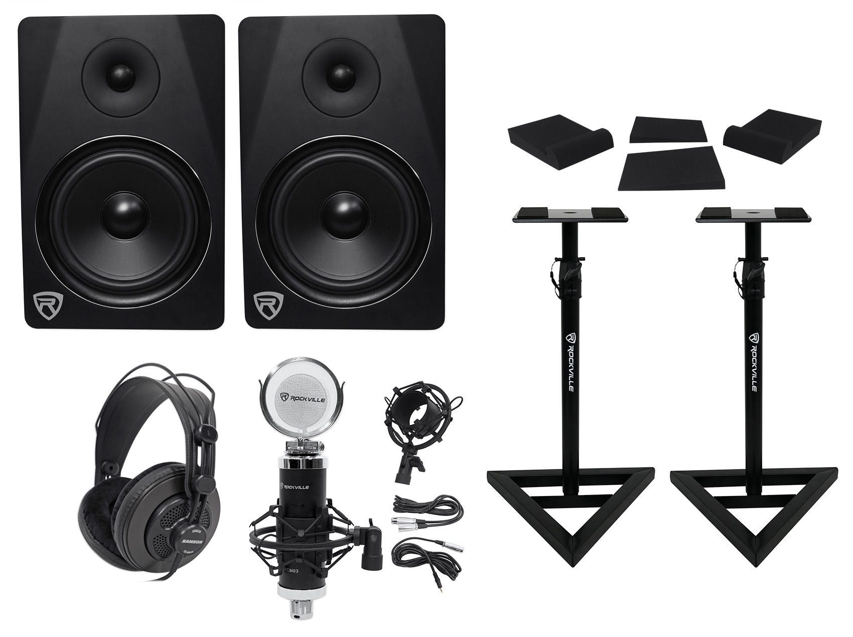 "(2) Rockville DPM8B 8"" 600w Dual Active Studio Monitors+Stands+Headphones+Mic by ROCKVILLE"