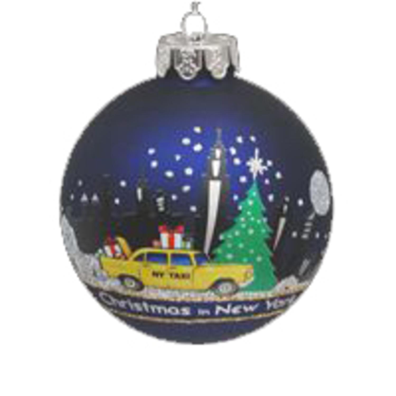 Pack Of 6 New York Scene Glass Ball Christmas Ornaments