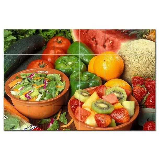 Fruits Vegetables Ceramic Tile Mural Kitchen Backsplash Bathroom Shower 405228 Walmart Com Walmart Com