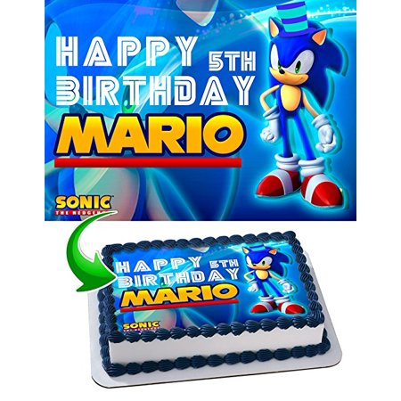 Sonic the Hedgehog Birthday Cake Personalized Cake Toppers Edible Frosting Photo Icing Sugar Paper A4 Sheet 1/4 Edible Image for (Edible Frosting Sheets)