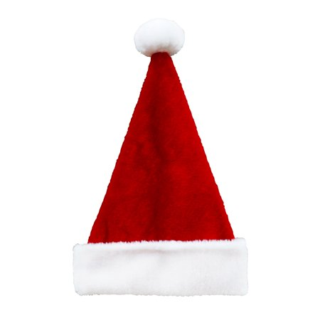 "17"" Red and White Plush Christmas Santa Hat with White Pom-Pom-Large Size - Bah Humbug Christmas Hat"