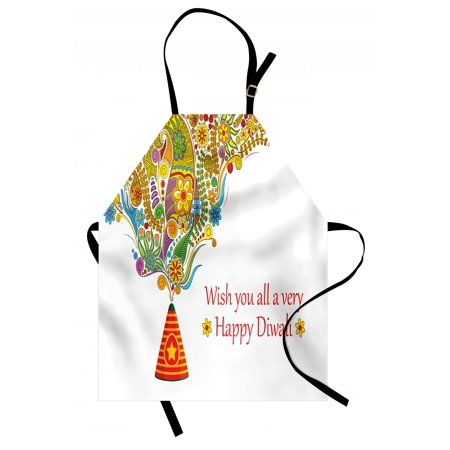 - Diwali Apron Tribal Festive Religious Celebration Cone with Star Spraying Paisley Artwork Print, Unisex Kitchen Bib Apron with Adjustable Neck for Cooking Baking Gardening, Multicolor, by Ambesonne