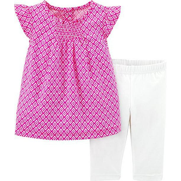 Carter S Baby Girls 2 Piece Geo Print Top Capri Leggings 9 Months Walmart Com Walmart Com