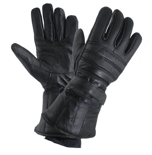 Xelement XG1227 Gauntlet Mens Black Leather Gloves with Rain Cover and Long Cuf