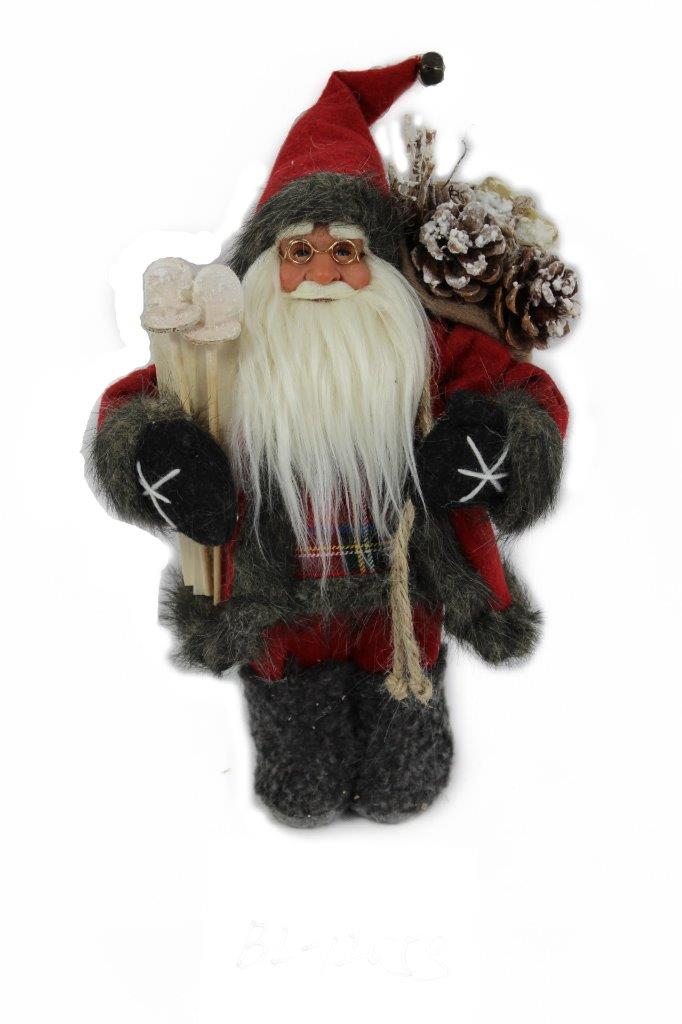 Lightahead 12 inch Santa Claus Standing Red Black Christmas Figurine Decoration Santa with Ski by Lightahead?
