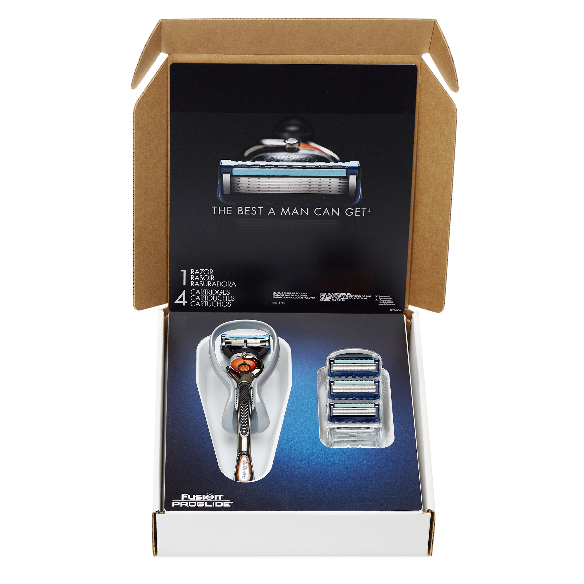 Gillette Fusion ProGlide Bundle with 4 ProGlide Razor Blade Refills + 1 ProGlide Handle with FlexBall Technology, 1 Kit