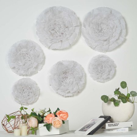 Balsacircle 6 Pcs 12 16 20 Inch Carnations Large Paper Flowers Wall Backdrop Party Wedding Accessories Decorations Supplies Sale