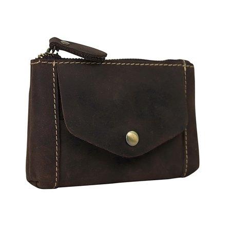 Vagarant Traveler Full Grain Leather Card Cash Coin Zipper Holder (Zippered Traveler)
