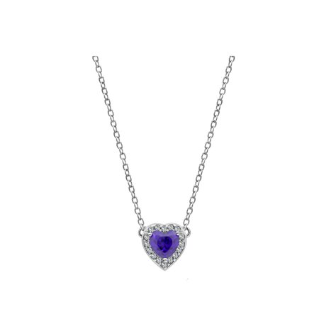 Ladies Tanzanite Pendant (DIAMONBLISS Platinum Plated Brass Tanzanite Heart Halo Birthstone Pendant Necklace- December )