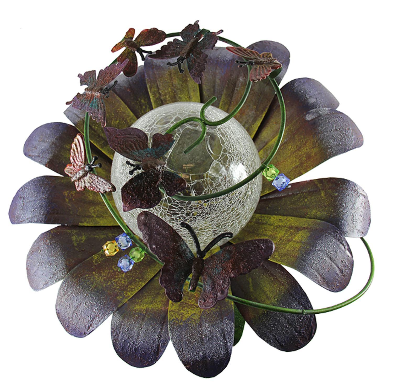 "15"" Purple LED Lighted Solar Powered Flower Garden Lawn Stake"