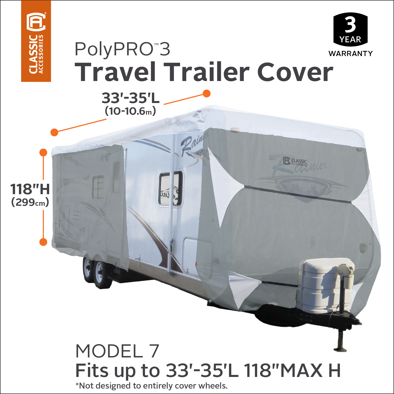 Classic Accessories PolyPRO 3 Deluxe Travel Trailer RV Cover & Toy Hauler  RV Cover, Fits 33' - 35' Trailers