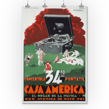 Casa America - Concertola Portatil Vintage Poster (artist: Mauzan)  Argentina c  1930 (36x54 Giclee Gallery Print, Wall Decor Travel Poster)