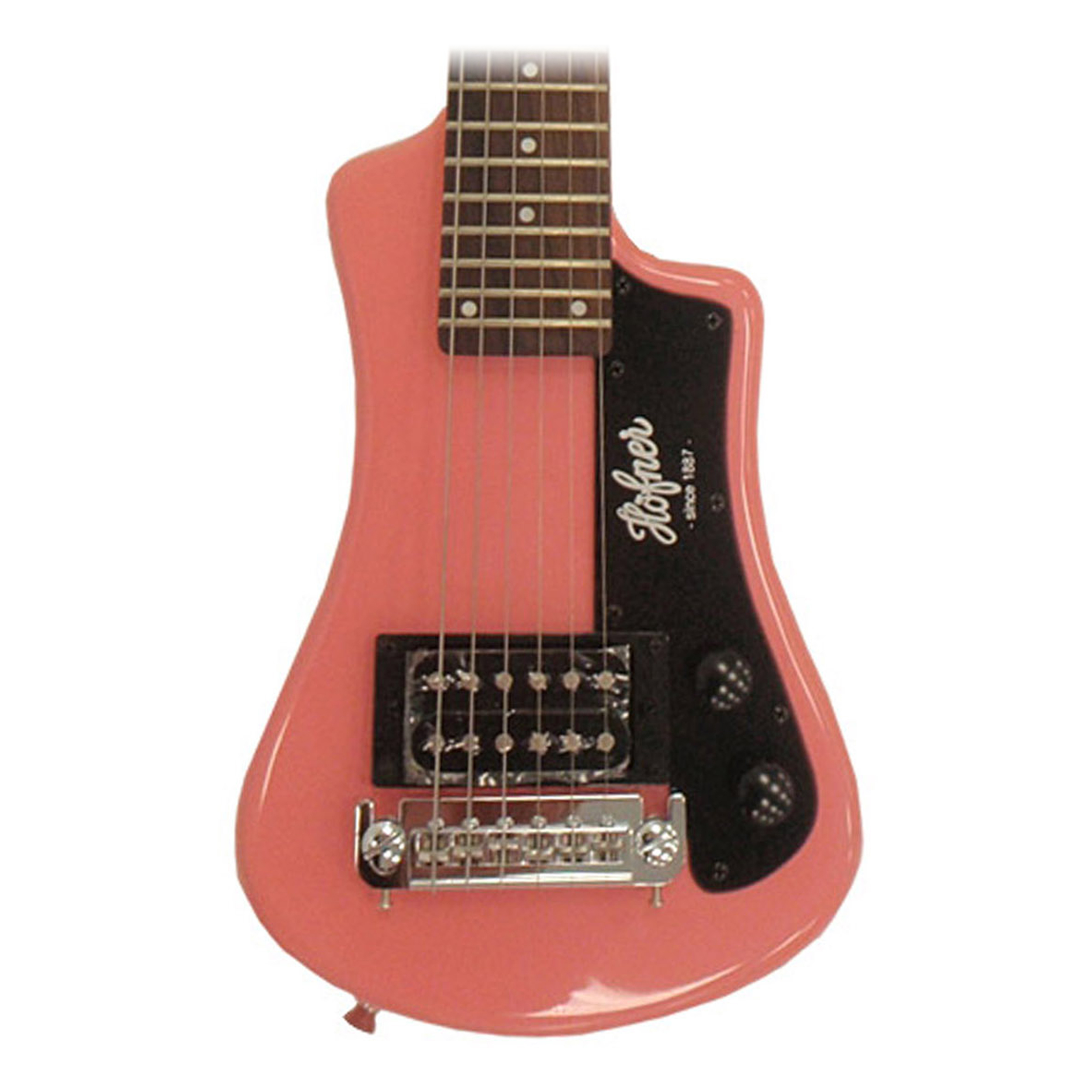 Hofner Shorty Electric Travel Guitar - Pink Blemished